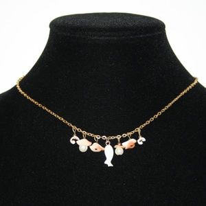 Vintage coral and mother of pearl gold necklace